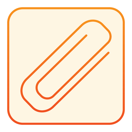 Clip flat icon. Paperclip orange icons in trendy flat style. Clinch gradient style design, designed for web and app. Eps 10.