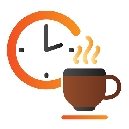 Time for break flat icon. Coffee break color icons in trendy flat style. Clock and cup gradient style design, designed for web and app. Banco de Imagens - 121529801