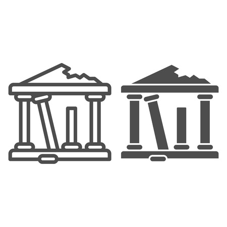 Greek ruins line and glyph icon. Architecture greece vector illustration isolated on white. Ancient ruins outline style design, designed for web and app. Illustration