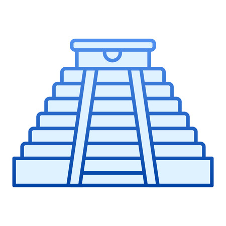 Mayan pyramid flat icon. Aztec monument blue icons in trendy flat style. Ancient temple gradient style design, designed for web and app. Ilustração