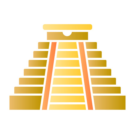 Mayan pyramid flat icon. Aztec monument color icons in trendy flat style. Ancient temple gradient style design, designed for web and app.