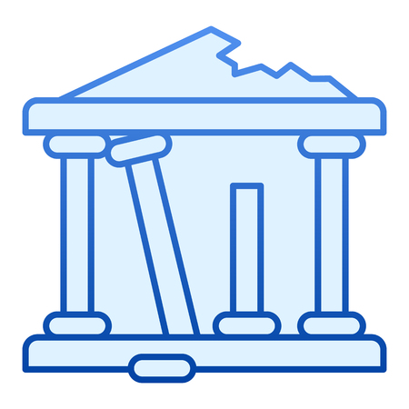 Ancient ruins flat icon. Greek ruins blue icons in trendy flat style. Architecture greece gradient style design, designed for web and app