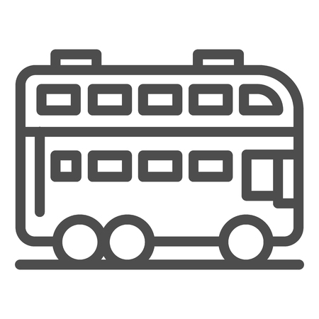 London bus line icon. Double decker bus vector illustration isolated on white. Travel outline style design, designed for web and app.