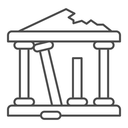 Greek ruins thin line icon. Architecture greece vector illustration isolated on white. Ancient ruins outline style design, designed for web and app.