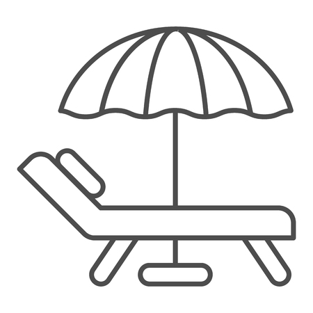 Beach umbrella and chair thin line icon. Vacation vector illustration isolated on white. Travel outline style design, designed for web and app.