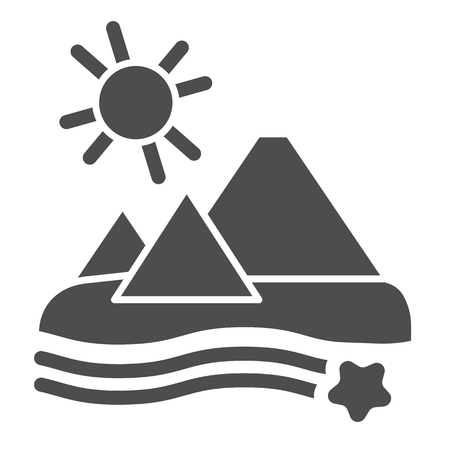 Pyramids solid icon. Desert vector illustration isolated on white. Egypt glyph style design, designed for web and app