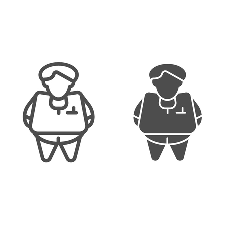 Fat person line and glyph icon. Obesity vector illustration isolated on white. Fat man outline style design, designed for web and app
