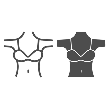 Woman decollete line and glyph icon. Girls figure with bra vector illustration isolated on white. Female body outline style design, designed for web and app.