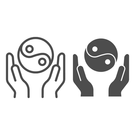 Hands holding yin yang line and glyph icon. Yin yang symbol vector illustration isolated on white. Buddhism outline style design, designed for web and app