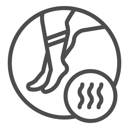 Foot with bad odor line icon. Smelly socks vector illustration isolated on white. Stinky feet outline style design, designed for web and app.