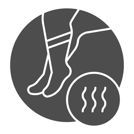 Foot with bad odor solid icon. Smelly socks vector illustration isolated on white. Stinky feet glyph style design, designed for web and app.