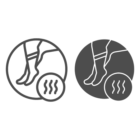 Foot with bad odor line and glyph icon. Smelly socks vector illustration isolated on white. Stinky feet outline style design, designed for web and app.