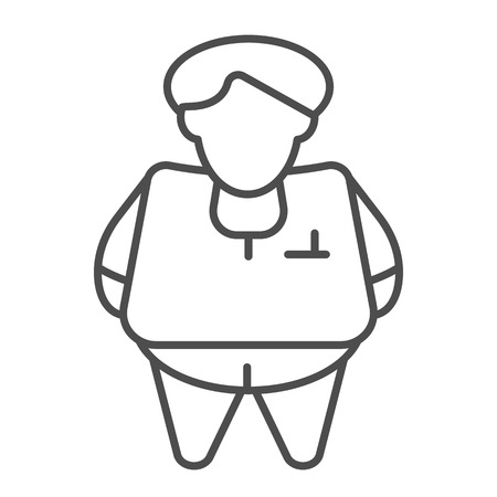 Fat person thin line icon. Obesity vector illustration isolated on white. Fat man outline style design, designed for web and app. Illusztráció