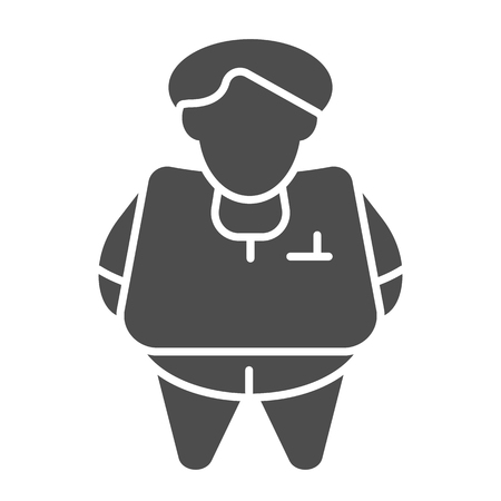 Fat person solid icon. Obesity vector illustration isolated on white. Fat man glyph style design, designed for web and app