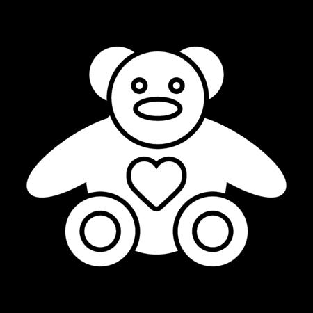 Teddy bear plush toy line vector icon. Good gift for Valentine day. Solid design.