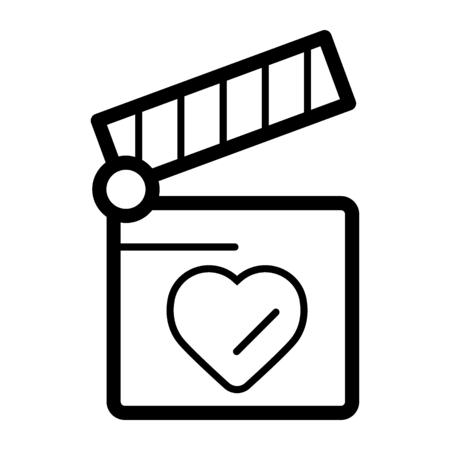 Clapper board with heart symbol. Love concept design. movie icon. Melodrama, a film about love. Valentine's Day Movie Vetores