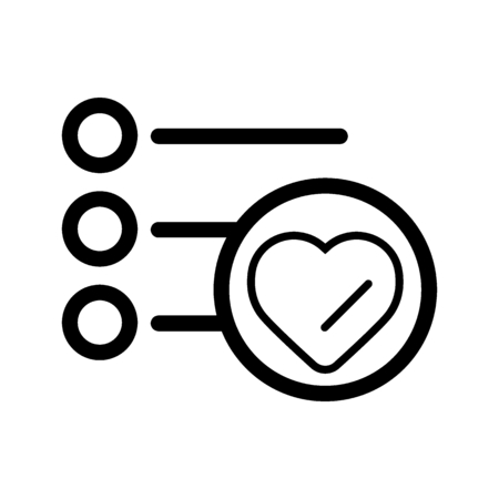 To-do list for Valentine's Day. Shopping list vector icon. Reminders. Bulleted list. Outline flat line design