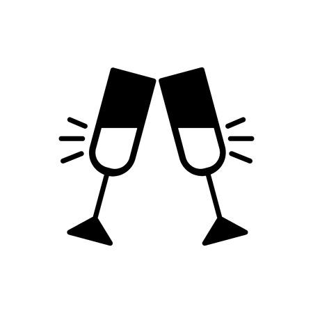 Gläser Champagner klirrender Ikonenvektor, flaches festes Piktogramm lokalisiert auf Weiß. Paar Champagnerglas Prost trinken Feiersymbol, Logoillustration