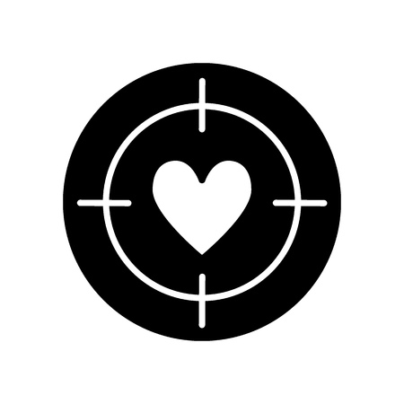 Heart target line icon, solid vector sign, linear style pictogram isolated on white. Aim with heart symbol, logo illustration.