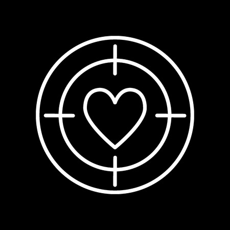 Heart target line icon, outline vector sign, linear style pictogram isolated on black. Aim with heart symbol, logo illustration.