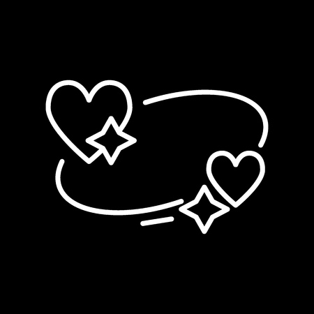 hearts and stars icon. Sleep dreams symbol. Night of love time sign. Thin vector icon isolated on white. solid design