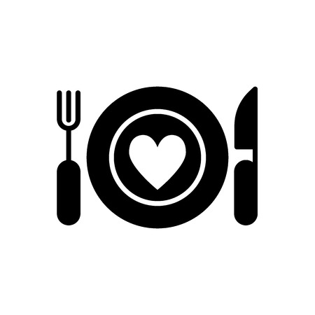 knife, fork, plate, heart icon vector. Thin line simple icon. Solid design. Eps 10.
