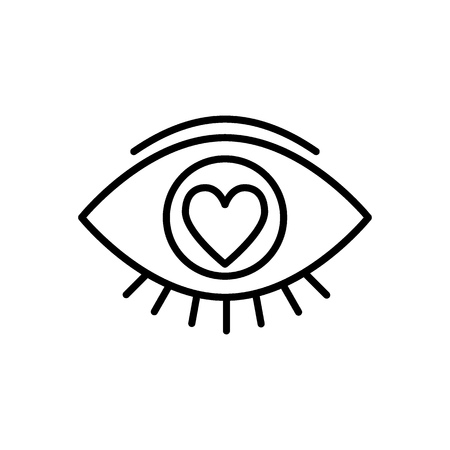 Heart in the eye line icon. Love in the eye vector illustration isolated on white. Love look outline style design, designed for web and app Çizim