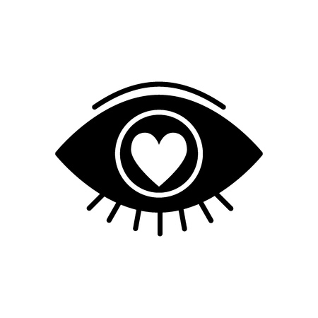 Heart in the eye solid icon. Love in the eye vector illustration isolated on white. Love look glyph style design, designed for web and app. Illustration