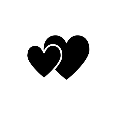 Two hearts solid icon. Valentines day vector illustration isolated on white. Couple of hearts glyph style design, designed for web and app. Stock Illustratie