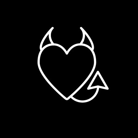 Devils heart line icon. Heart with horns and a tail vector illustration isolated on black. Evil love outline style design, designed for web and app.