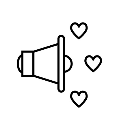 Megaphone and hearts line icon. Volume vector illustration isolated on white. Love outline style design, designed for web and app. Eps 10 Ilustração