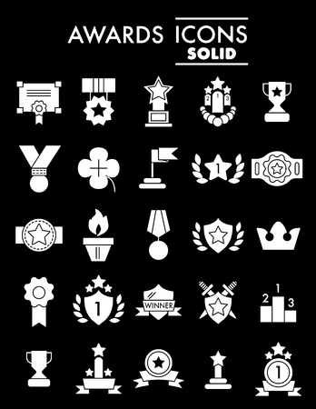 Set of winning, awards vector line simple icons. Contains such Icons as Laurel Branch, Reward, Achievement and more. Flat design. Solid icons on black background. Eps 10.
