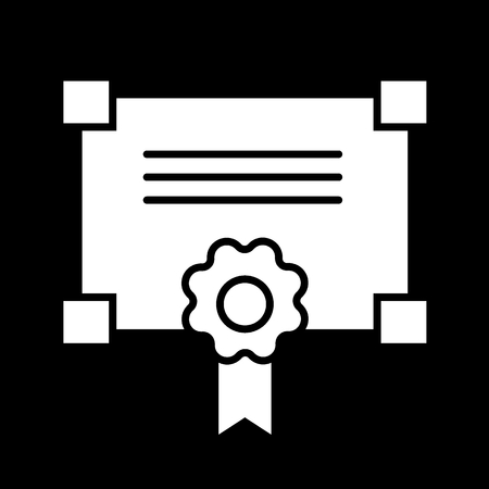 Certificate solid icon. vector illustration isolated on black. glyph style design, designed for web and app.
