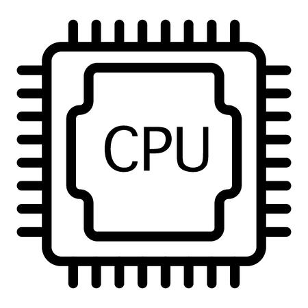 CPU-Leitungssymbol. Prozessorabbildung getrennt auf Weiß. Design im Chip-Umriss-Stil, entwickelt für Web und App.