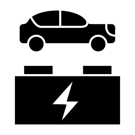 Electro car and accumulator solid icon. Electric auto and battery illustration isolated on white. Eco car glyph style design, designed for web and app.