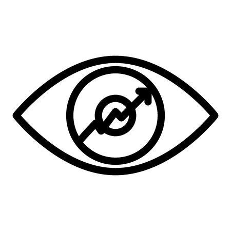 Eye with graph line icon. Growth diagram in the eye illustration isolated on white. Chart and eye outline style design, designed for web and app. Çizim