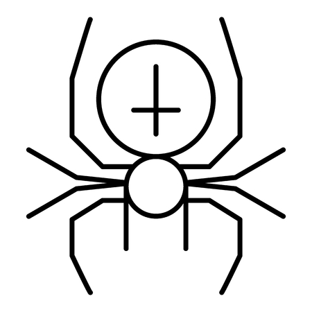 Spider with the cross thin line icon. Arachnid vector illustration isolated on white. Black widow outline style design, designed for web and app.