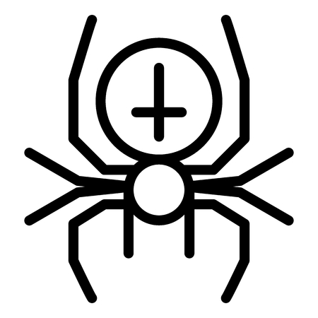 Spider with the cross line icon. Arachnid vector illustration isolated on white. Black widow outline style design, designed for web and app.