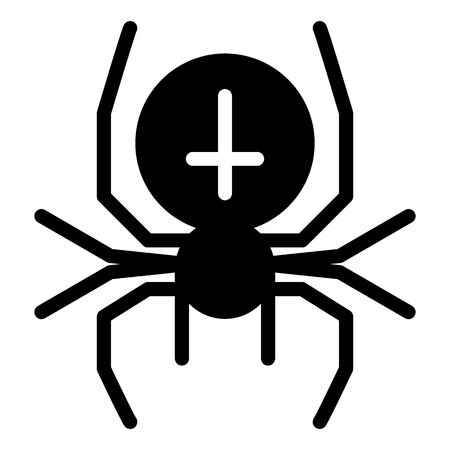 Spider with the cross solid icon. Arachnid vector illustration isolated on white. Black widow glyph style design, designed for web and app.