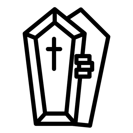 Opened coffin with the hand line icon. Dead vector illustration isolated on white. Tomb with the cross outline style design, designed for web and app. Eps 10