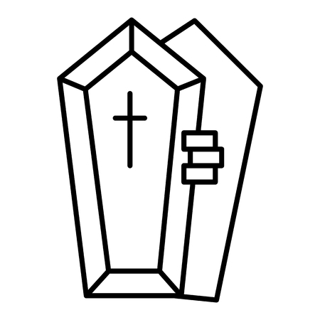 Opened coffin with the hand thin line icon. Dead vector illustration isolated on white. Tomb with the cross outline style design, designed for web and app. Eps 10 Illustration