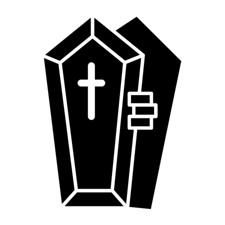 Opened coffin with the hand solid icon. Dead vector illustration isolated on white. Tomb with the cross glyph style design, designed for web and app. Eps 10