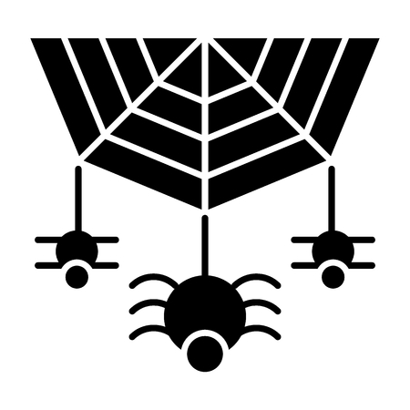 Spider on the web solid icon. Cobweb with the spider vector illustration isolated on white. Arachnid glyph style design, designed for web and app.