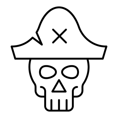 Skull in pirate hat thin line icon. Skeleton web vector illustration isolated on white. Pirate symbol outline style design, designed for web and app. Çizim