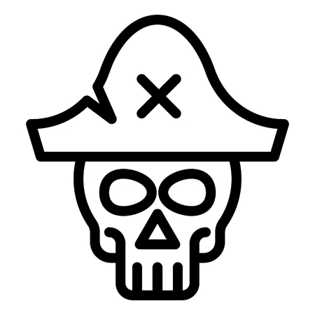 Skull in pirate hat line icon. Skeleton web vector illustration isolated on white. Pirate symbol outline style design, designed for web and app.