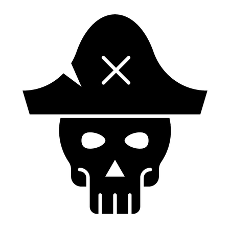 Skull in pirate hat glyph icon. Skeleton web vector illustration isolated on white. Pirate symbol glyph style design, designed for web and app.