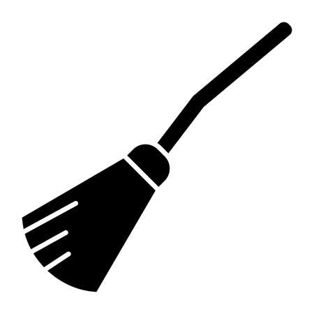 Witch broom solid icon. Sweeping broom web vector illustration isolated on white. Besom glyph style design, designed for web and app.