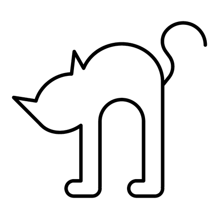 Black cat thin line icon. Witch cat web vector illustration isolated on white. Animal outline style design, designed for web and app.