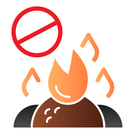 Do not burn waste flat icon. Burning garbage ban color icons in trendy flat style. Forbidden bonfire gradient style design, designed for web and app.