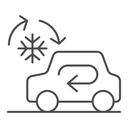 Cooling car system thin line icon. Auto air conditioning vector illustration isolated on white. Car climate control outline style design, designed for web and app.. Vetores